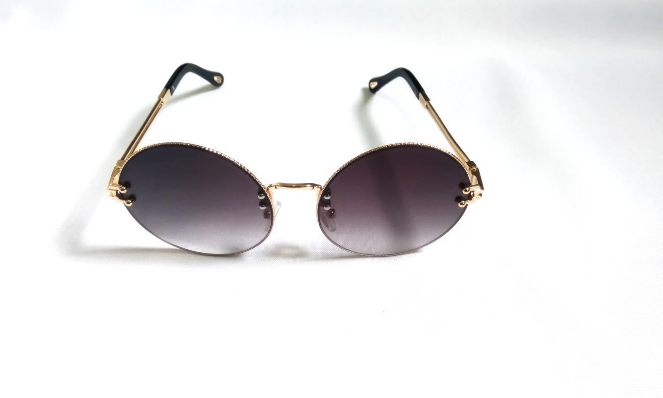 Óculos Solar Feminino Redondo Luxo Proteção Uv400