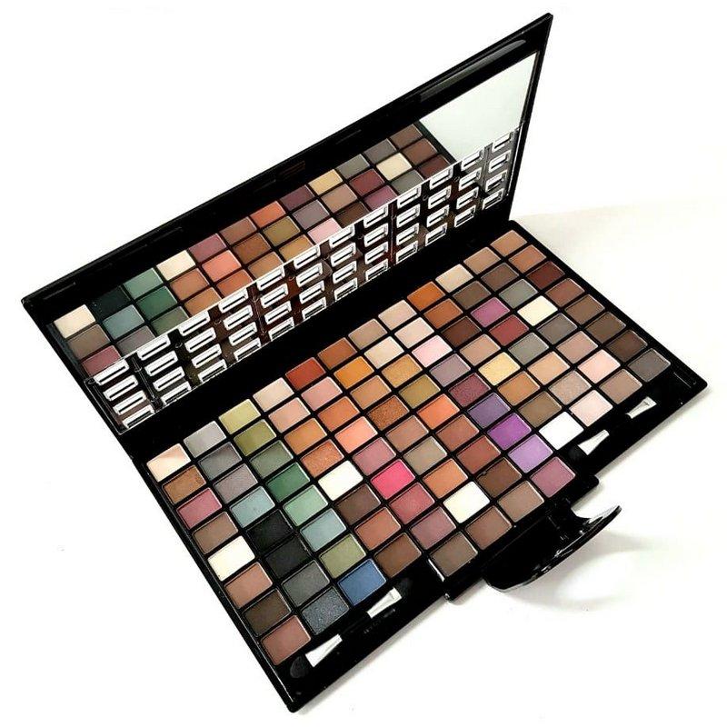 Paleta De Maquiagem Com 100 Sombras Nude E Cintilante  Espelho E Com 2 Pincéis