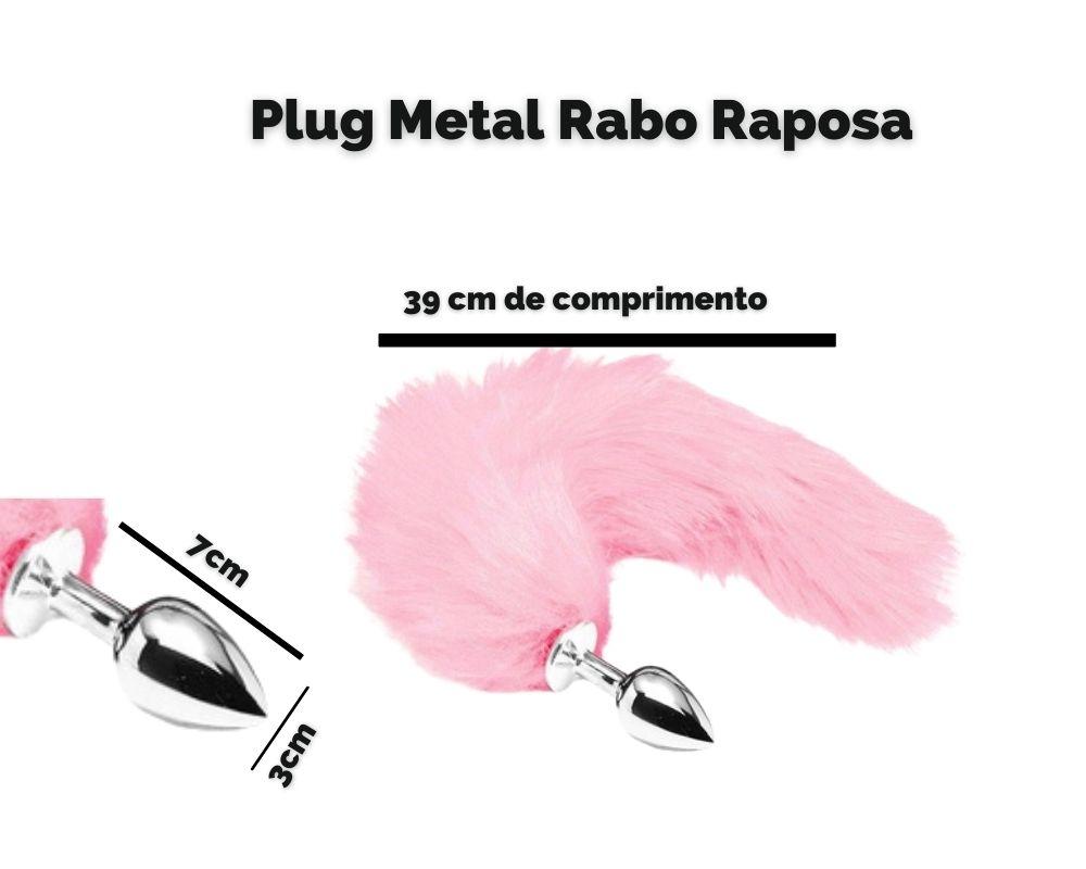 Plug Anal De Aço 7cm Inoxidável Com Cauda 39cm +Sachê Lubrif