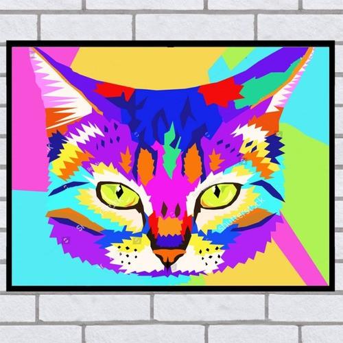 Quadro Decorativo Gato Colorido Abstrato