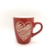 Caneca de porcelana 310ml amor vermelha com coração riscado branco - Cód KK2-1074V