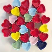 Pote coração em cerâmica lisa 100ml - Cód.2682LI (Laranja)