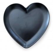 Prato de sobremesa formato de coração cerâmica preto fosco - Cód. OC415
