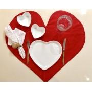 Prato formato coração raso liso de cerâmica - Cód. 2747LI