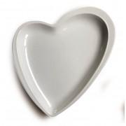 Prato travessa decorativo de cerâmica branco formato coração design P - Cód. OC407