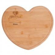 Tábua de bambu formato coração 27cm x 24cm - Cód. TA-42003