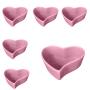 Jogo c/ 6 potes de cerâmica orgânico formato coração rosa 100ml - OC419R
