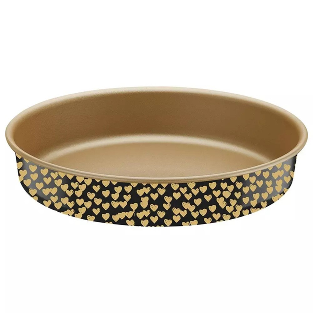 Assadeira Antiaderente preta e coração dourado Lovely 26cm e 2,4L Tramontina - Cód. 27807023