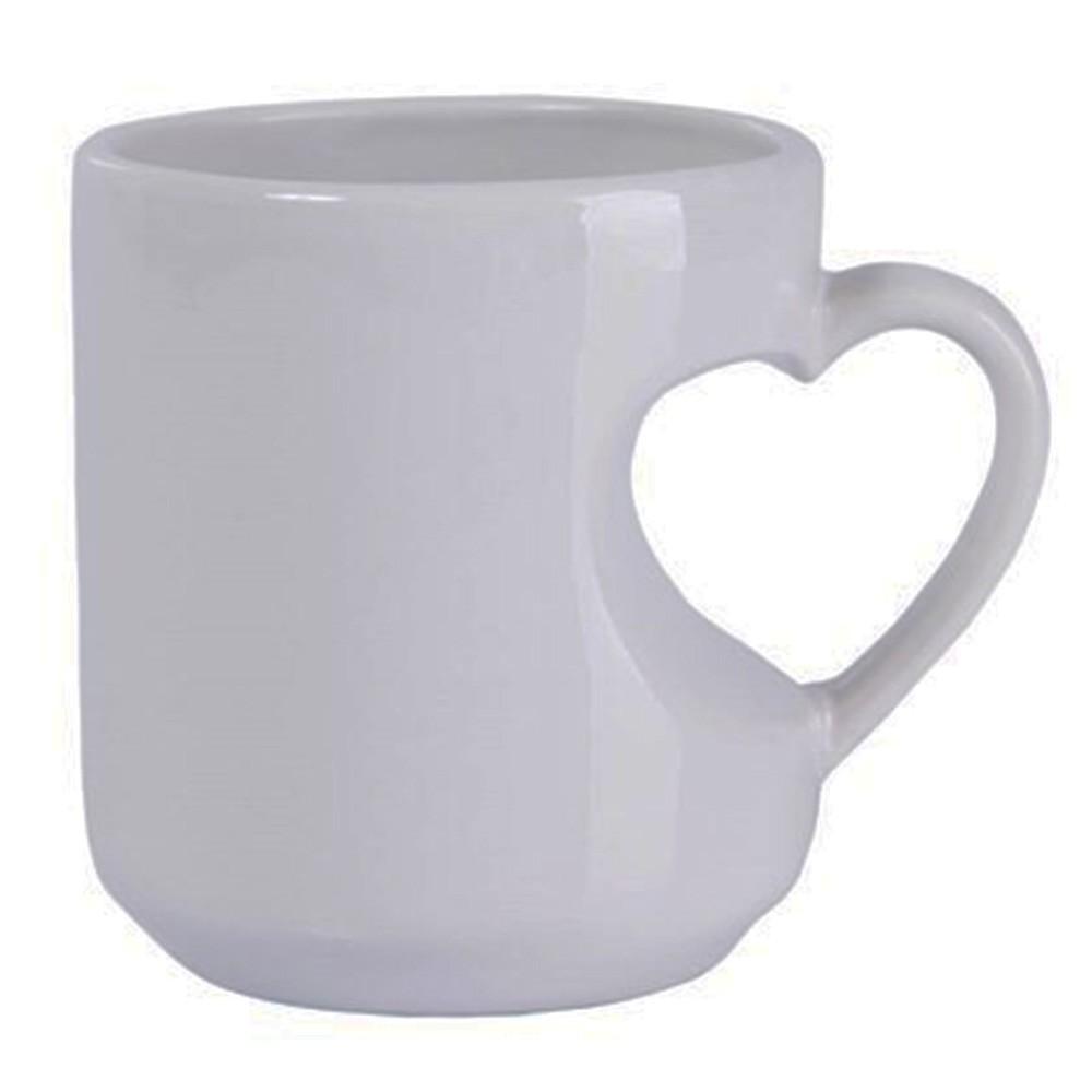 Caneca de cerâmica branca alça coração 295ml - Cód. 43540