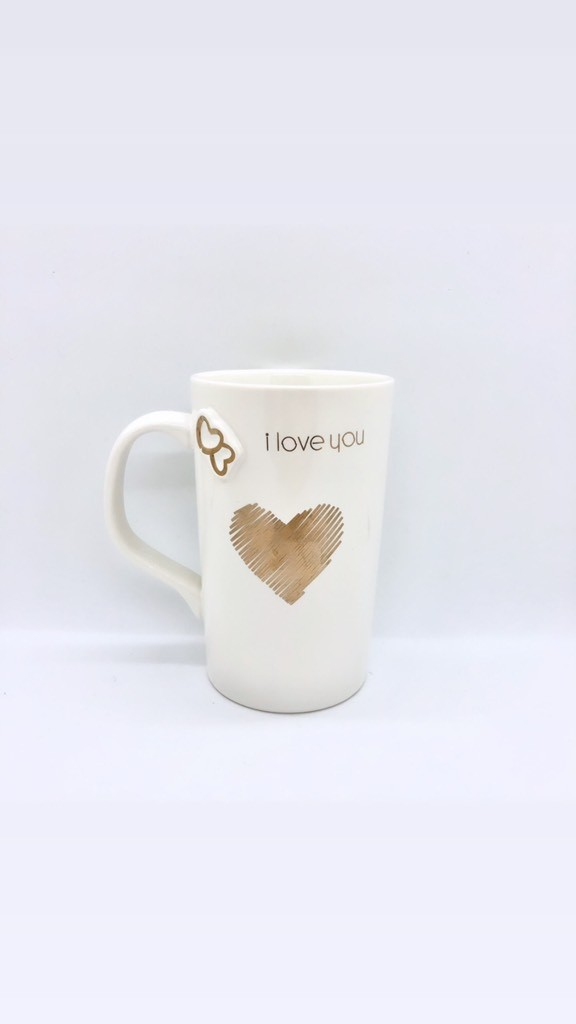 Caneca I love you de porcelana branca alta 300ml - Cód. YW-9157