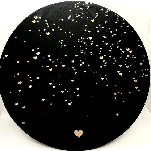Capa sousplast preto com estampa de coração - Cód. OC322