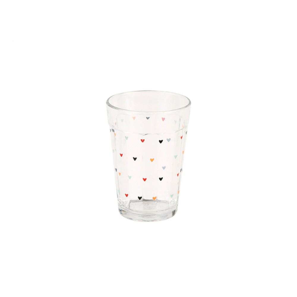 Copo de vidro 190ml com mini corações - Cód. 999