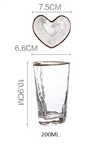 Copo vaso de vidro formato coração com borda dourada 200ml - Cód OC420