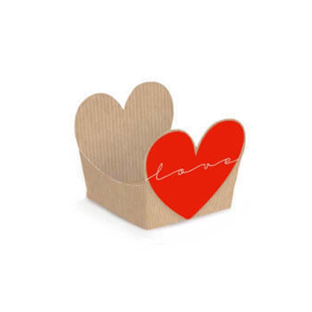 Forminha para doce kraft com coração vermelho pacote com 24und - Cód. 28610611