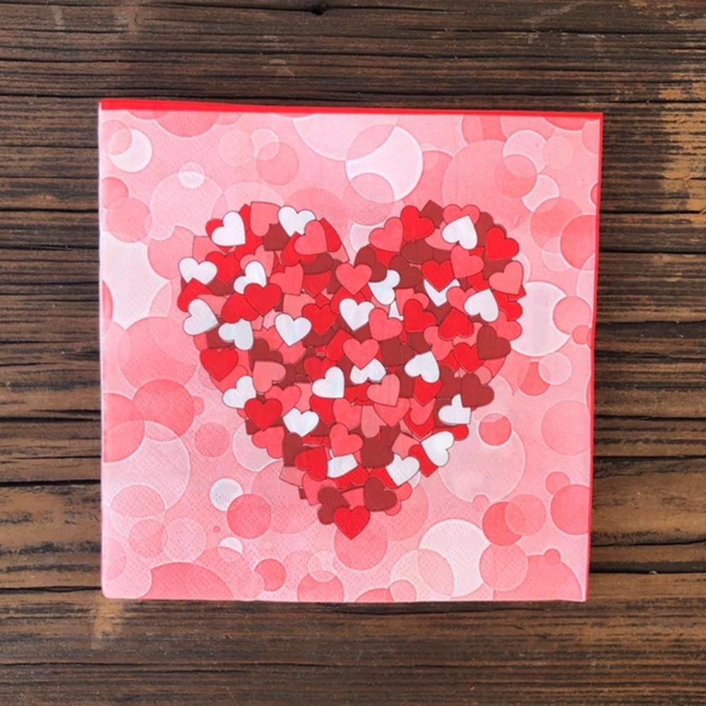 Guardanapo de papel estampa coração 33cm X 33cm - Cód. GP33058