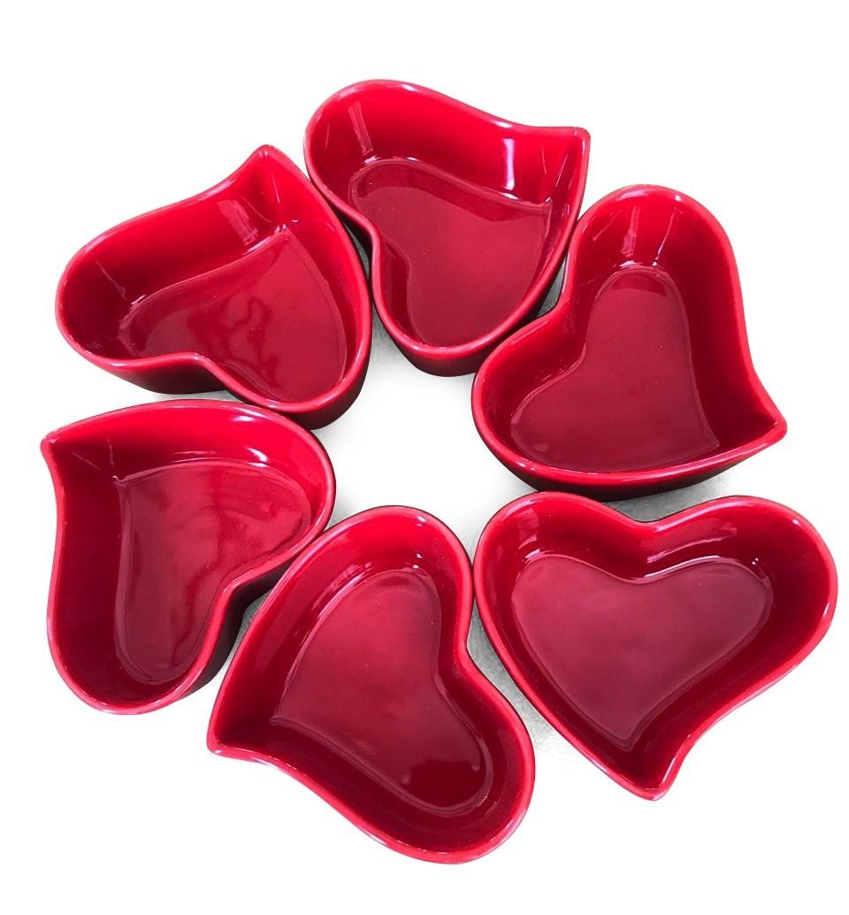 Jogo c/ 6 potes de cerâmica orgânico formato coração vermelho 100ml - OC419