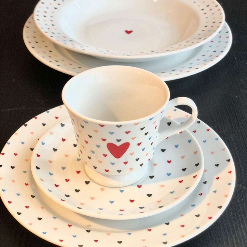 Jogo de Chá e Jantar Amor Colorido de porcelana com 20 peças - Cód. 2733020.0855594