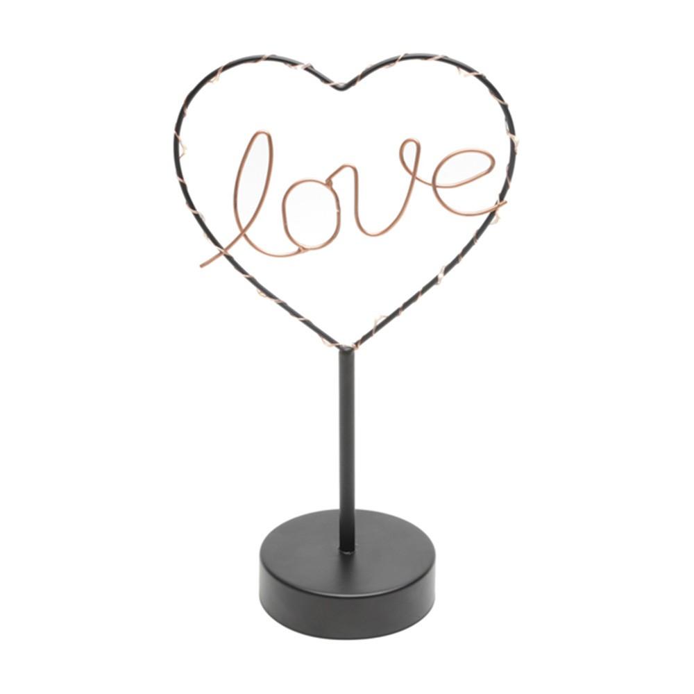 Luminária Love Led preto e cobre Cód. 40749