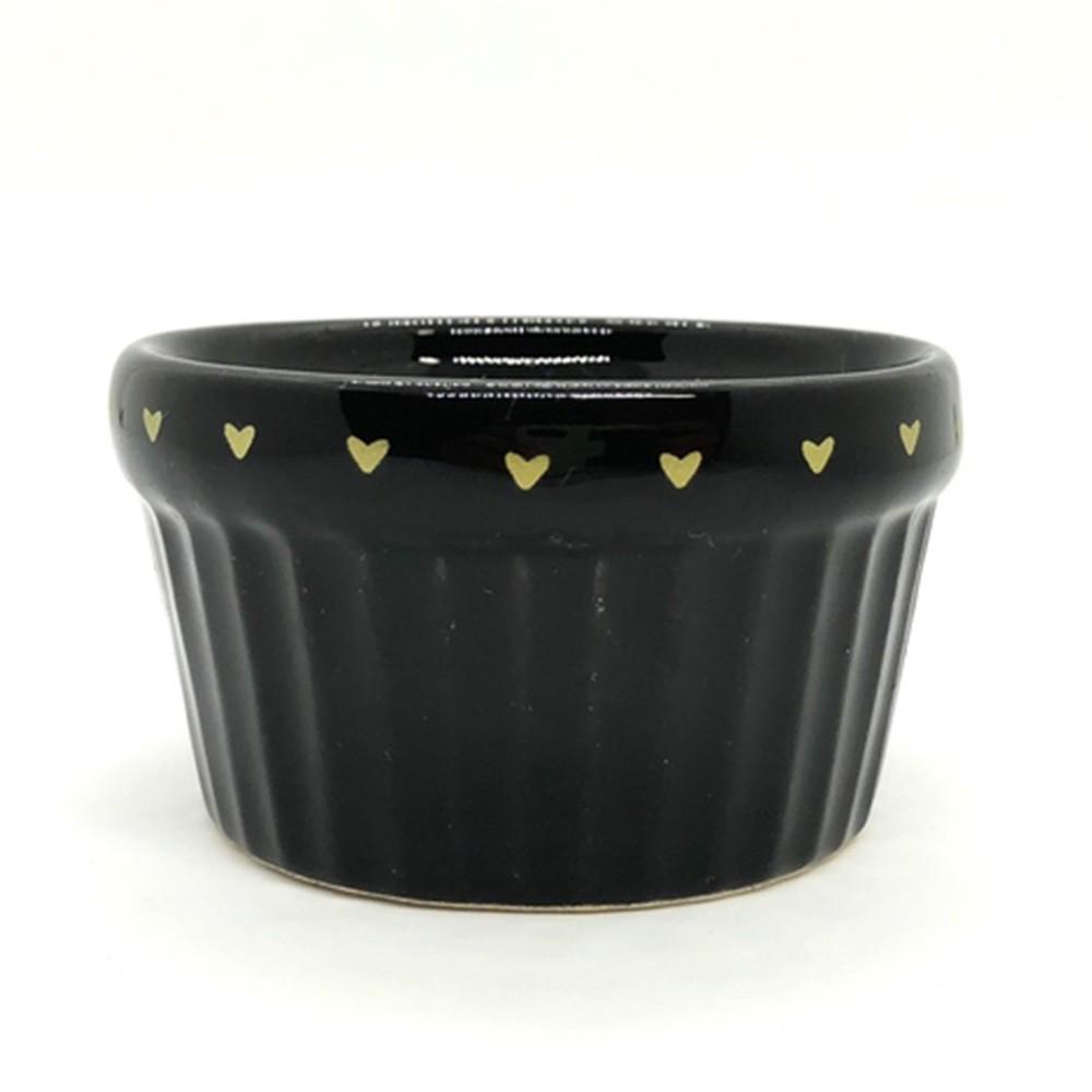 Pote cerâmica canelado preto com borda de coração 100ml  - Cód.OC229