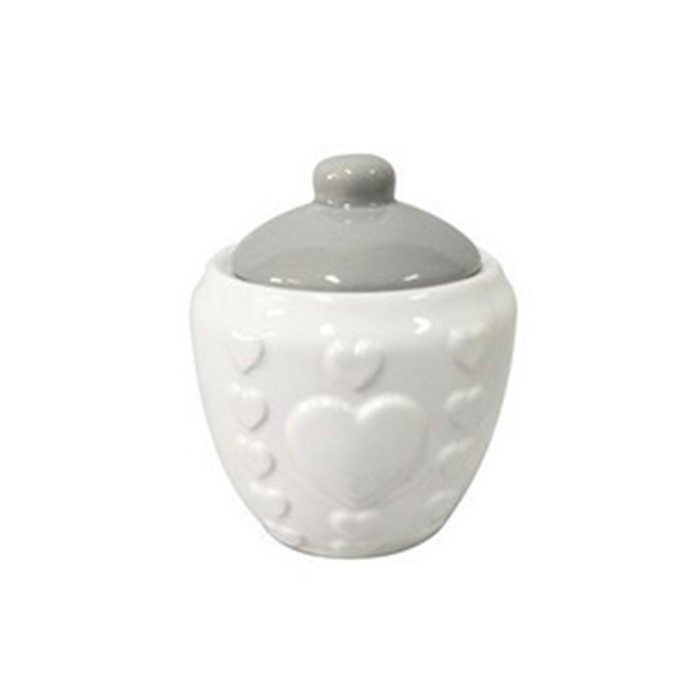 Pote com tampa de cerâmica branco e coração em relevo -  Cód. 44458