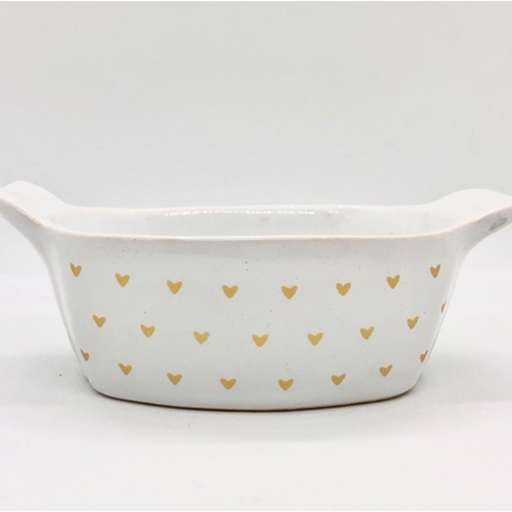 Pote de cerâmica oval com coração dourado - Cód.OC233