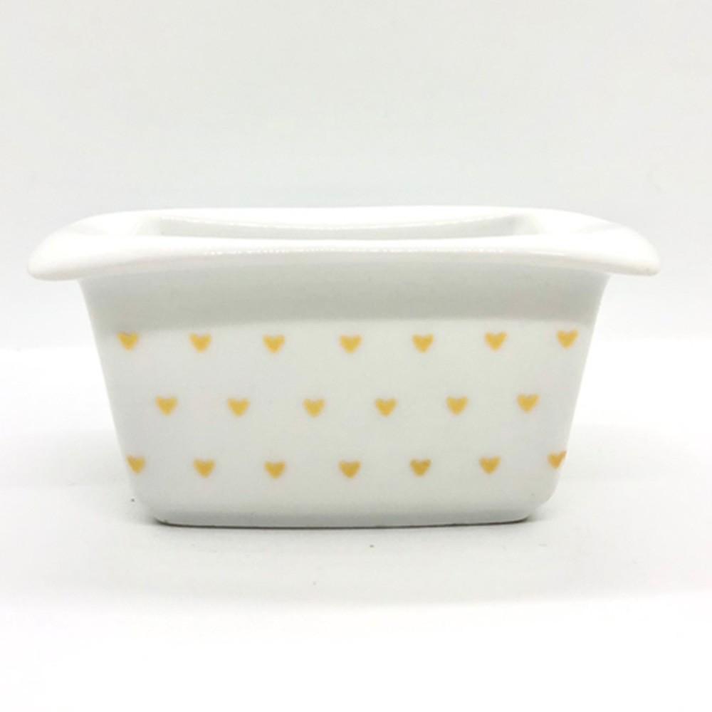 Pote de porcelana retangular com coração dourado - Cód.OC231