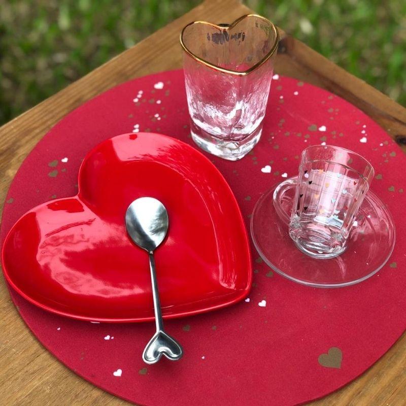 Prato de sobremesa formato de coração cerâmica vermelho brilhante - Cód. OC414
