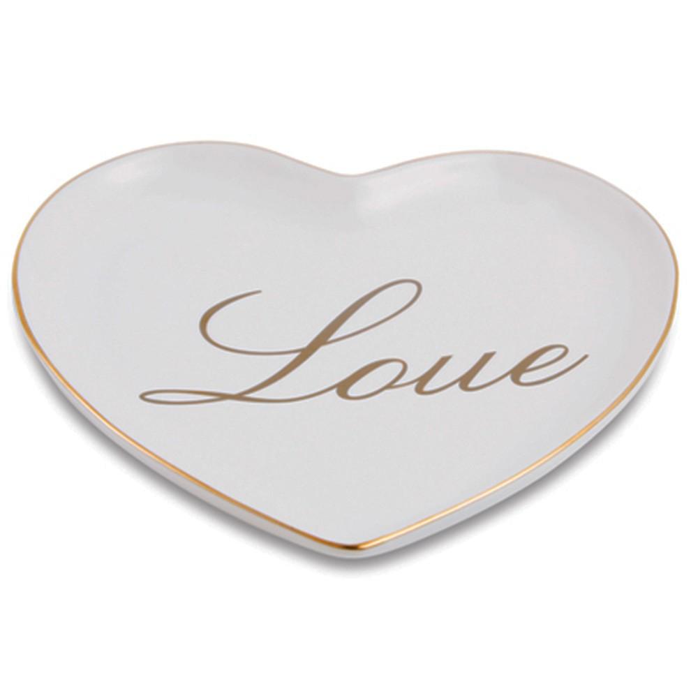 Prato de sobremesa Love borda dourado - Cód 11347