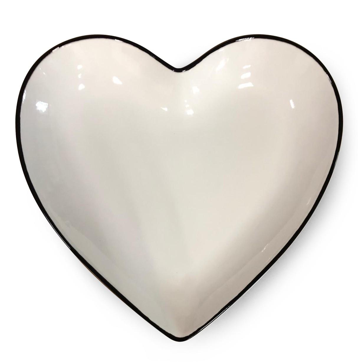 Prato formato coração de cerâmica branco com borda preta - Cód. OC416