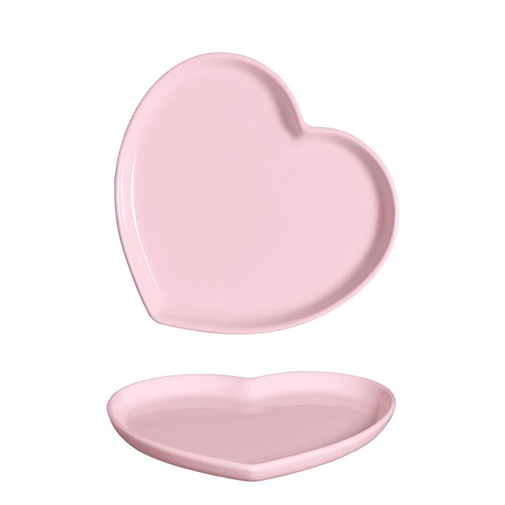 Prato formato coração raso de cerâmica faiança rosa M - UND - Cód 79-335R
