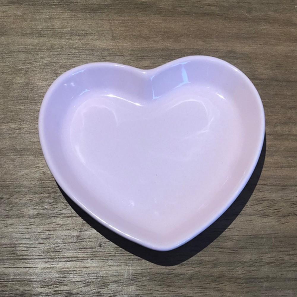 Prato formato coração raso de cerâmica faiança rosa P - UND - Cód. 79-388R