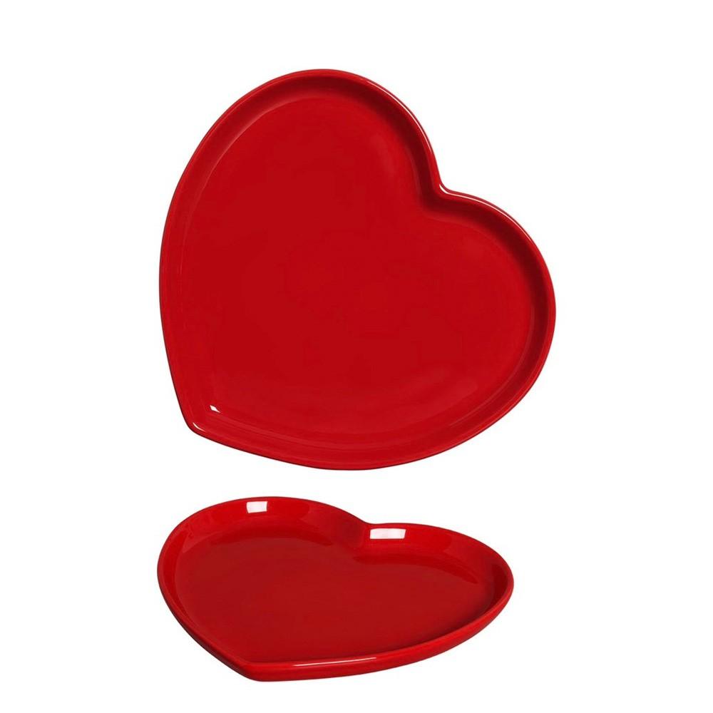 Prato formato coração raso de cerâmica faiança vermelho G - UND - Cód.21-336