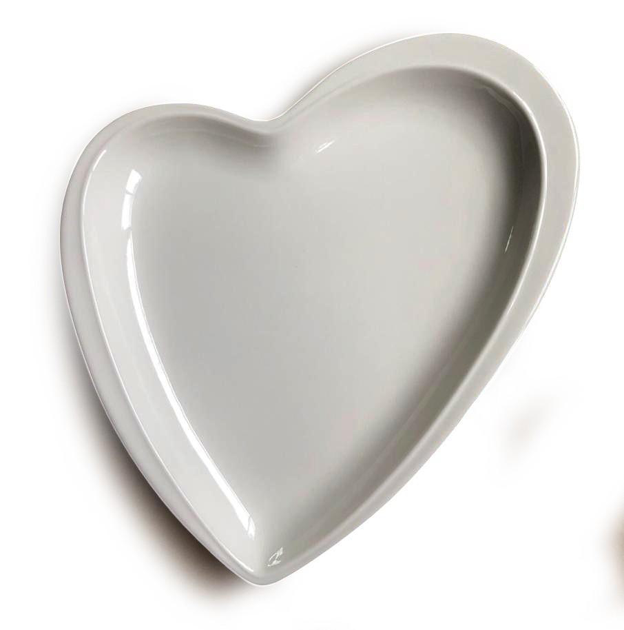 Prato travessa decorativo de cerâmica branco formato coração design M - Cód. OC408