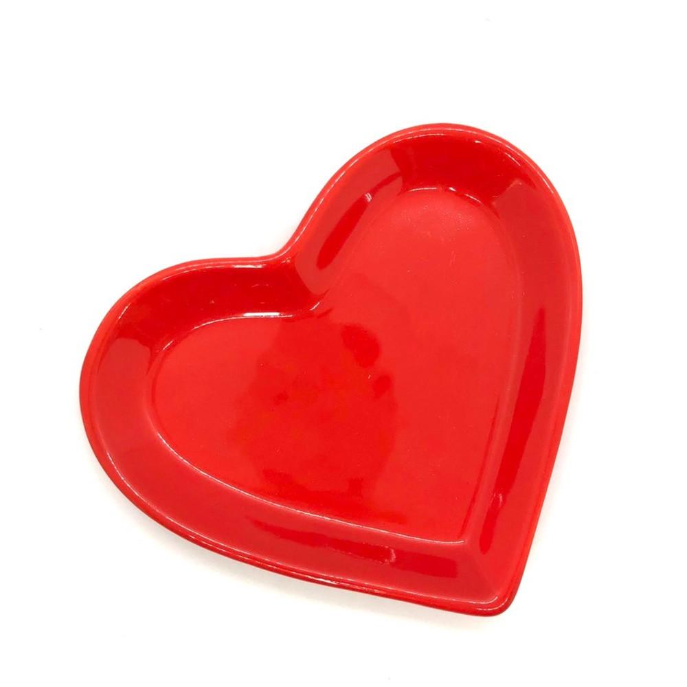 Travessa petisco P formato coração vermelho - Cód.ER148