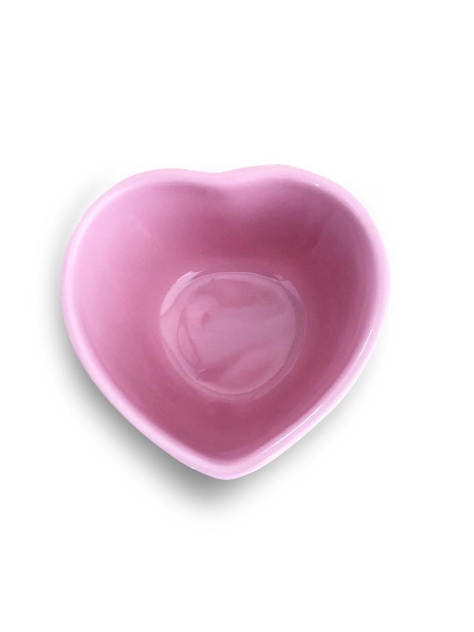 Trio de potes formato coração de cerâmica alto rosa 120ml - FY5239T