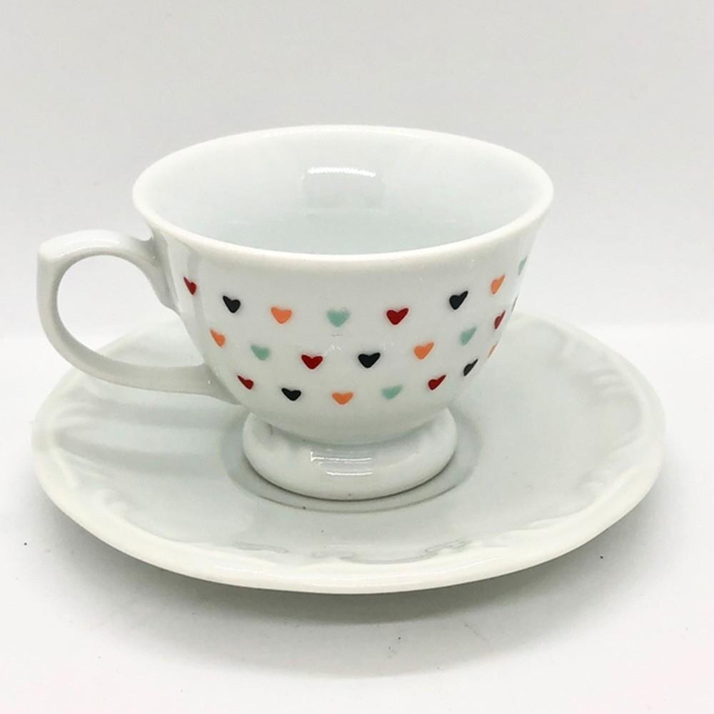 Xícara de café com pires de porcelana com mini corações coloridos 70ml - Cód. OC314