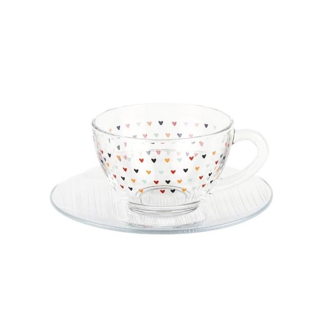 Xícara de vidro 240ml com pires - Cód. 1051
