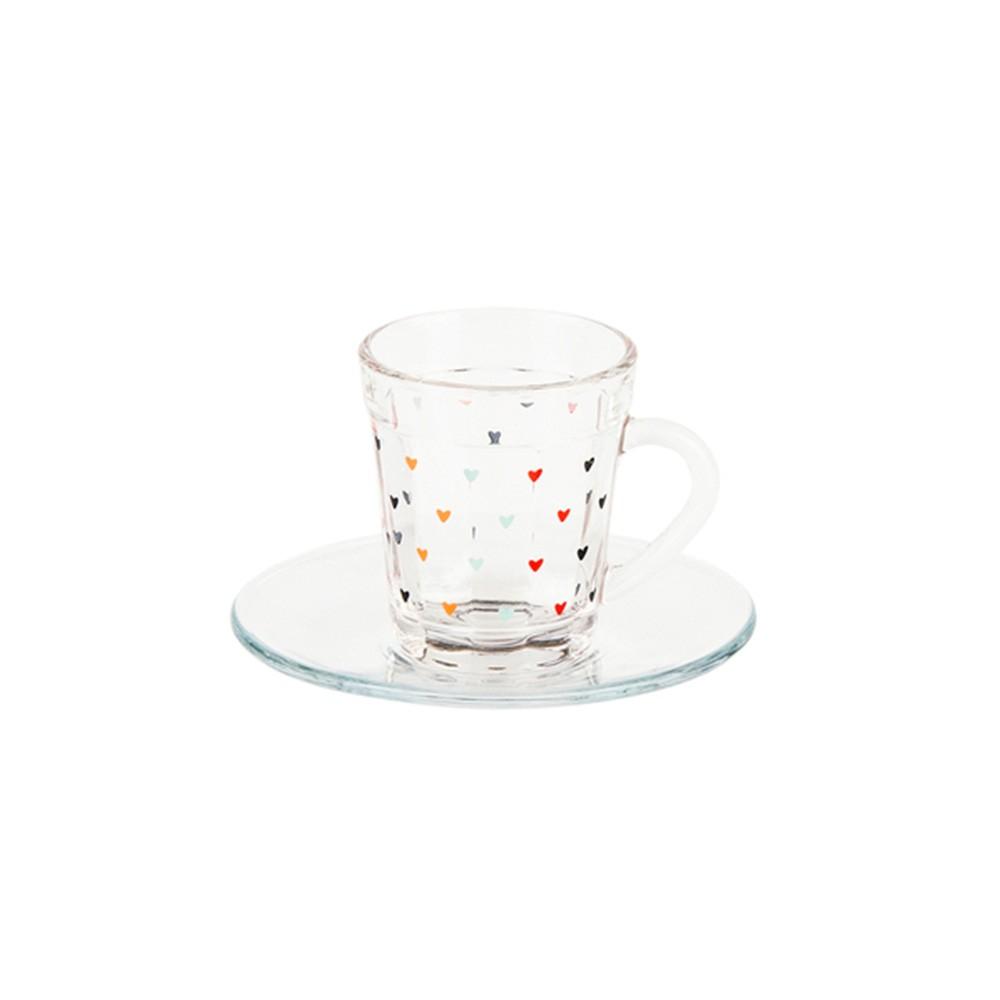 Xícara de vidro com mini corações 90 ml - Cód 1050