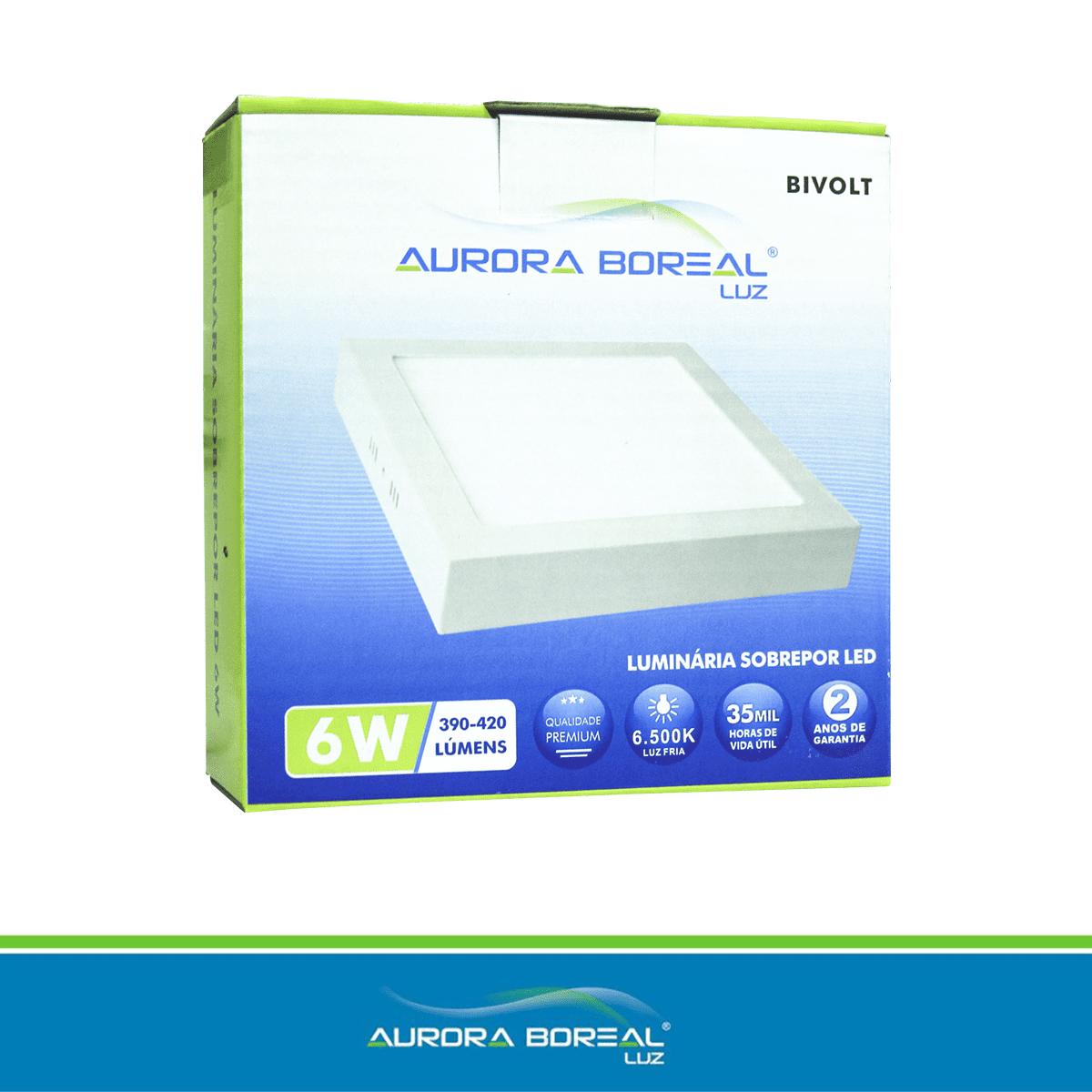 PAINEL LED QUADRADO SOBREPOR 06W - 6500K (Branco Frio)