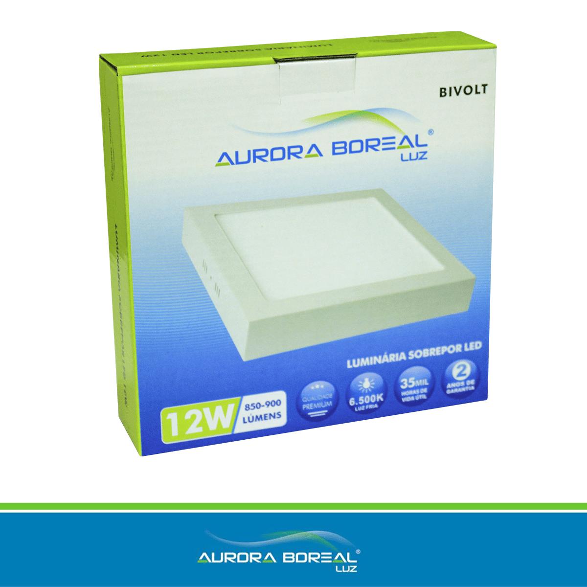PAINEL LED QUADRADO SOBREPOR 12W - 6500K (Branco Frio)