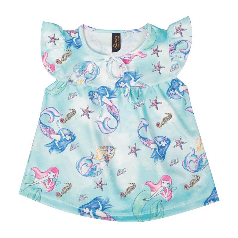 Bata Infantil Menina Sereia Azul