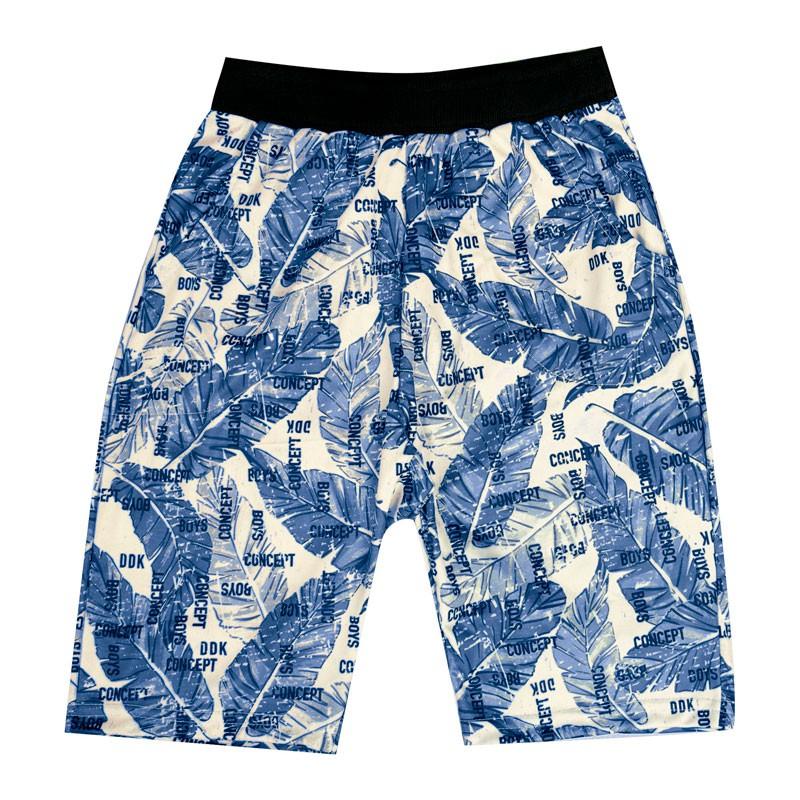 Bermuda Infantil Menino Folhas Azul