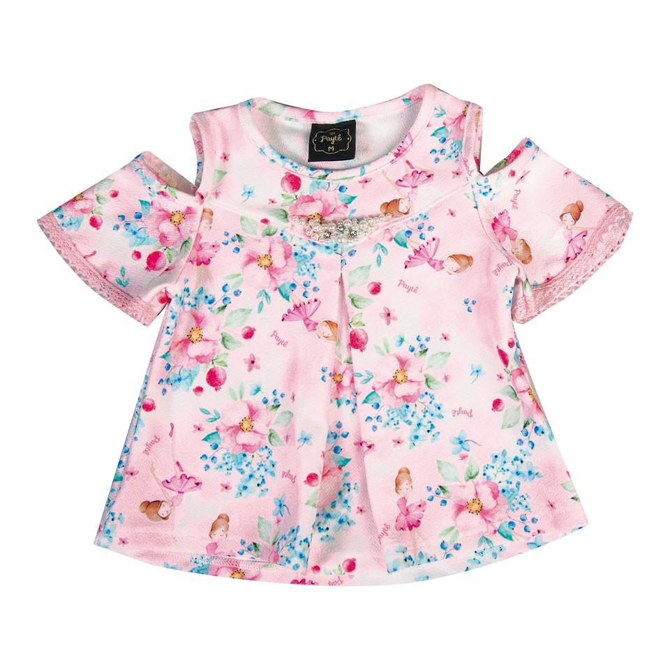 Blusa Bebê Menina Bailarina Rosa