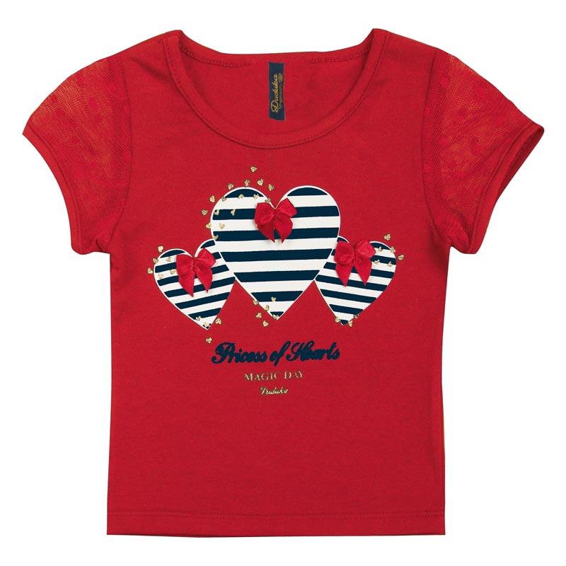 Blusa Duduka Bebê Menina Coração Vermelho