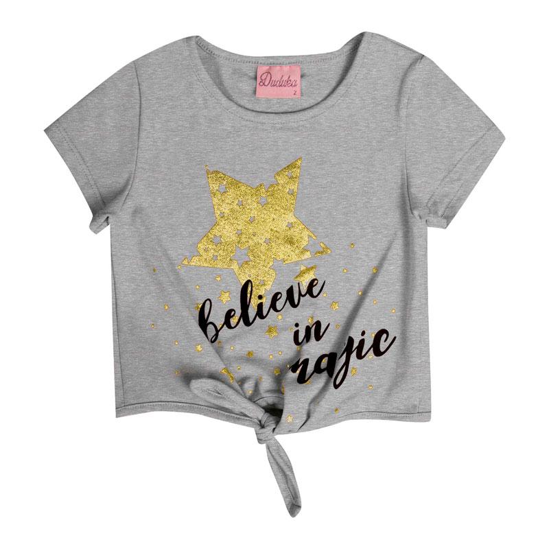 Blusa Bebê Menina Estrela Cinza