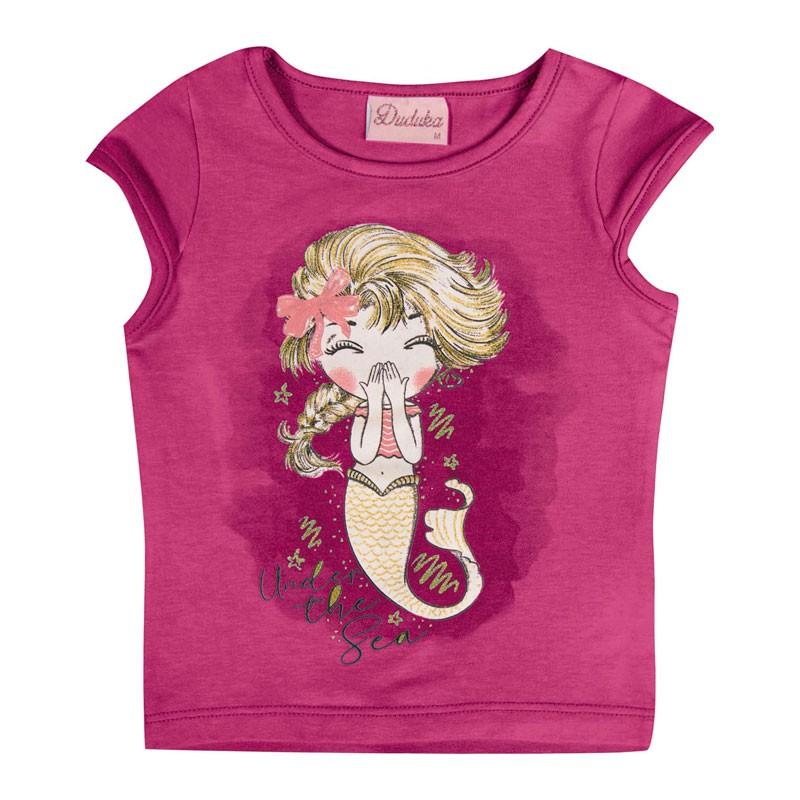 Blusa Duduka Bebê Menina Sereia Rosa
