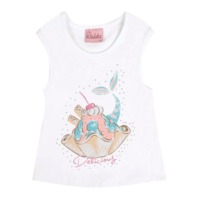 Blusa Bebê Menina Sorvete Branco