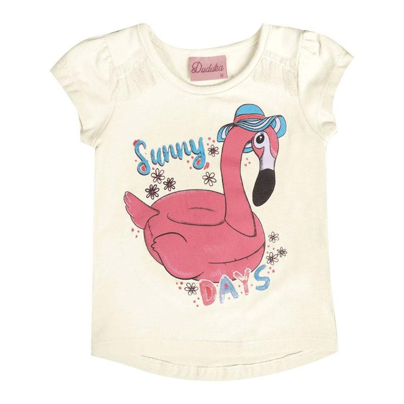 Blusa Duduka Bebê Menina Flamingo Bege