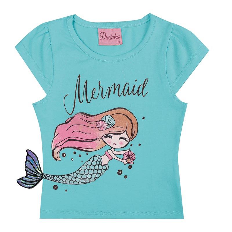 Blusa Duduka Infantil Menina Mermaid Azul