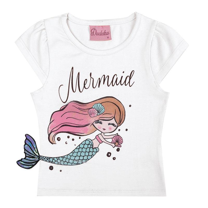 Blusa Duduka Infantil Menina Mermaid Branco